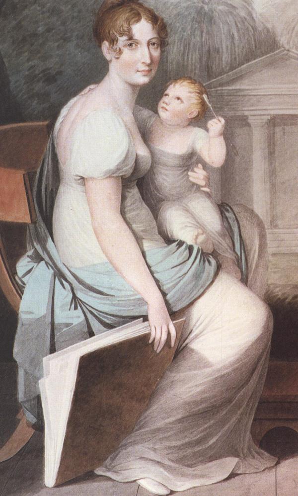 Abbildung 4: Anonym, Malerin mit Kind im Freien, ca. 1800