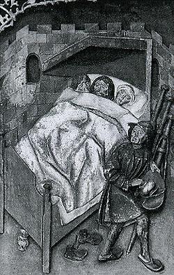 3 Pilger in einem Bett im Wirtshaus