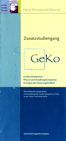 Leaflet Zusatzstudiengang Gender-Kompetenz (2003)