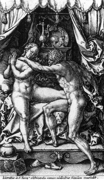Aldegrever: Vergewaltigung der Lucretia (1553)
